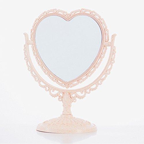 Bluelover Miroir De Maquillage 2 Latérales De Table De Stand De Rotation De Forme en Plastique D'Habillage De Coeur