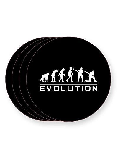 Evolution of a Cricket Player - Darwin - Evolution of Man - Getränkeuntersetzer - einzeln oder als 4er Pack - quadratisch oder rund, ROUND Pack of 4 -