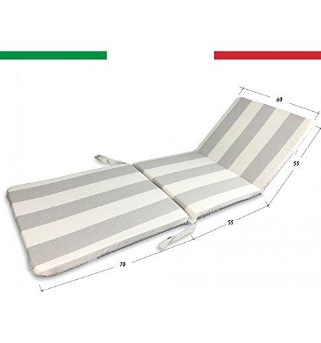 tex family Coussin Chaise Longue Lit Déhoussable cm. 60 x 180 x 5 pour extérieur qualité Extra