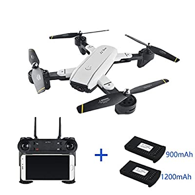 Qinyin SG-700 New Remote Control Drone Aircraft with 2MP 720P Wide Angle Camera WIFI FPV Foldable 6-Axis Gyro 360° Flip Latitude Hold RC Quadcopter Helicopter RTF + 1 Cable & 2 Batteries
