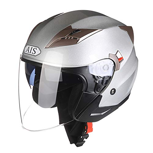 Halber Helm R1-708 ABS Vier Jahreszeiten MäNner Und Frauen Jet Helm Anti-Fog-Doppellinse Komfortables Futter Motorradhelm,Silver-L(55-59cm)