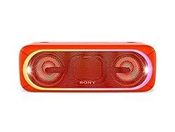Sony SRS-XB40 Tragbarer kabelloser Lautsprecher (Bluetooth, NFC, wasserabweisend, 24 Stunden Akkulaufzeit) rot