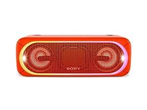 Sony SRS-XB40 Tragbarer, kabelloser Lautsprecher (Mehrfarbige Lichtleiste, Lautsprecherbeleuchtung, Stroboskoplicht, Extra Bass, Bluetooth, NFC, wasserabweisend, bis zu 24 Stunden Akkulaufzeit, Wireless Party Chain) Rot