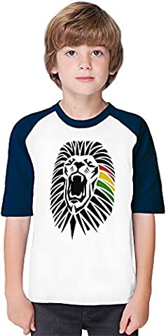 Roaring Lion Head Tattoo Junglist Movement Soft Material Baseball Kids T-Shirt by Benito Clothing - 100% Organic, Hypoallergenic Cotton- Casual & Sports Wear - Unisex for Boys and Girls 5-6 years