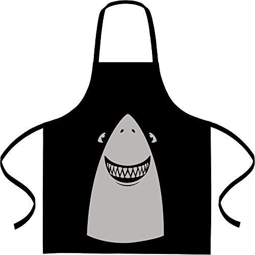 Shirtgeil Weißer Hai Karneval, Fastnacht, Fasching Kostüm Kochschürze, Grillschürze, Latzschürze One Size Schwarz (Einfaches Hai Kostüm)