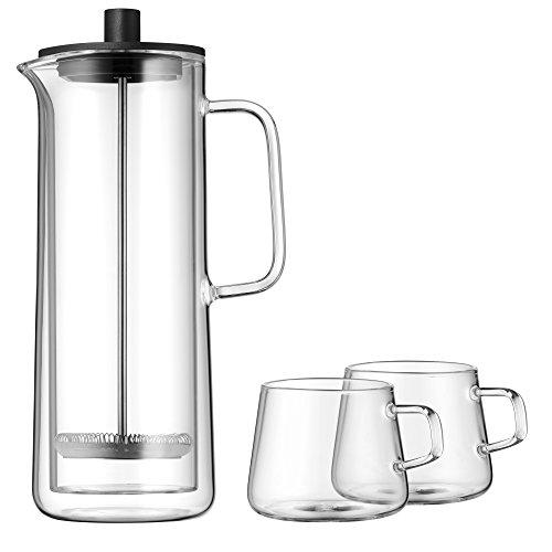 WMF Coffee Time French Press Kaffeebereiter Glas, mit 2 Kaffeetassen, Cromargan Edelstahl, spülmaschinengeeignet