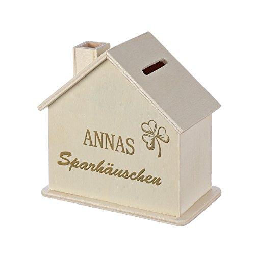 Spardose Haus mit Gravur - Sparbüchse aus Holz - Geschenk für jeden Anlass - Motiv Glückshäuschen