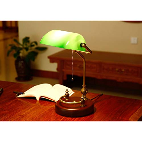 Table Lamp Bankers vintage table lighting fixture green glass cover shade birch wood base antique adjustable