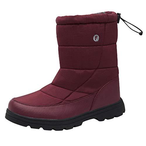 HDUFGJ Damen Stiefel Plus Samt warme Schneestiefel Baumwollstiefel Winterstiefel wasserdicht Reißverschluss Stiefeletten winterstiefelgefüttert Chelsea Boots Outdoor Boots kurz 43 EU(Rot)