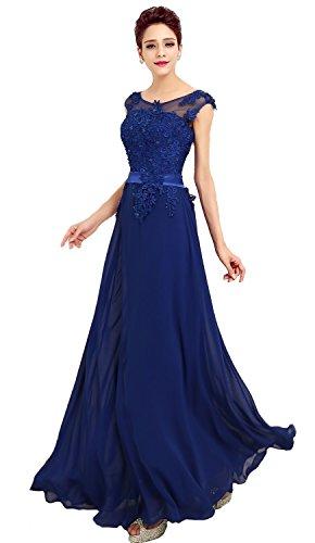 abito da cerimonia donna in chiffon damigella vestito lungo elegante da festa party-Blue-L(busto 92cm)