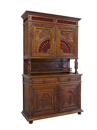 Antike Fundgrube Schrank Buffet Wohnzimmerschrank bretonisch um 1880 Eiche massiv B: 144cm (9052) -