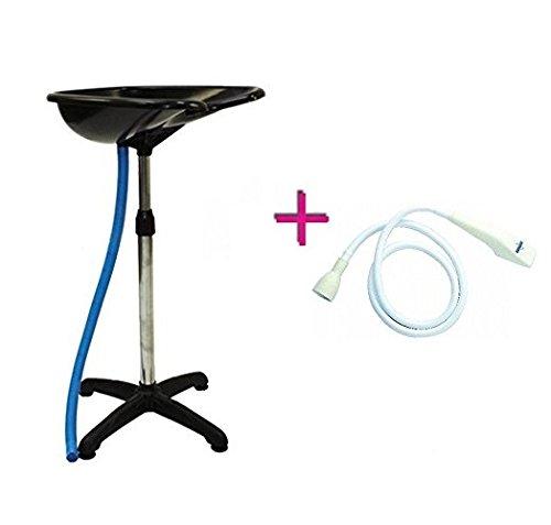 Melcap - Lave-tête portable avec pied pour coiffeurs + douchette universelle sèche-cheveux