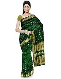 BISHAKHA Women's Assam Pure Silk Saree (Green)
