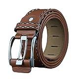 YULAND Herren Gürtel von By, Bekleidung Accessoires Belt Mode Leder Glatt Gürtelschnalle Bund Bund Freizeit Gurtband (Braun)