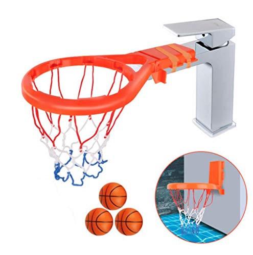 JTSYH Baby Wasser Spielzeug Saugnapf Wasserhahn Dual-Use-Basketball-Box Bad Dusche Badewanne Basketball-Box mit einem Basketball-Ständer + 3 PU-Bälle