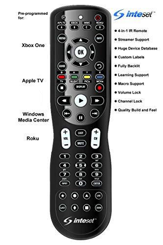 Inteset 4-in-1 Universal Hintergrundbeleuchtung IR Lernen-Fernbedienung für die Verwendung mit Apple TV, Xbox One, Roku, Media Center/Kodi Schwarz