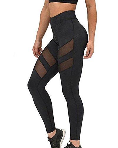 Donna 2017 Trasparente Leggins Sportivi Pantaloni Da Ginnastica Running Fitness Yoga Gym Leggings Nero