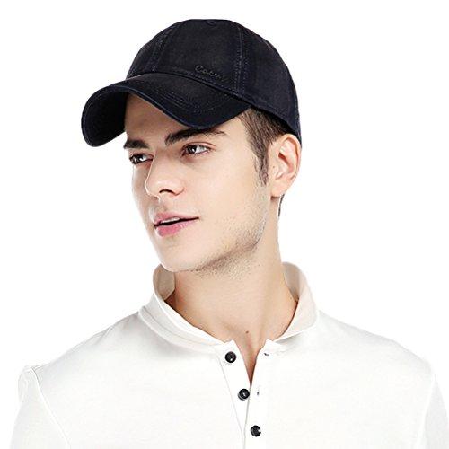 CACUSS Herren Baumwolle Klassische Baseballmütze Mit Einstellbaren Schnallenverschluss-Vati-Hut einheitsgröße marine