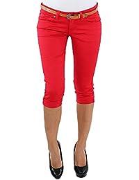 5e0b62207feb Damen 3 4 Jeans Stretch Capri mit Gürtel Kurze Hose Shorts Bemuda Hüft  Sommer