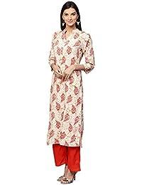 Jaipur Kurti Women Off-White & Orange Printed Rayon Kurta With Palazzos