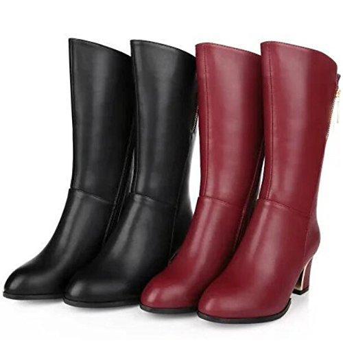 HSXZ Scarpe donna pu Autunno Inverno Comfort stivali Chunky tallone punta tonda Mid-Calf scarponi per Casual nero del vino Black
