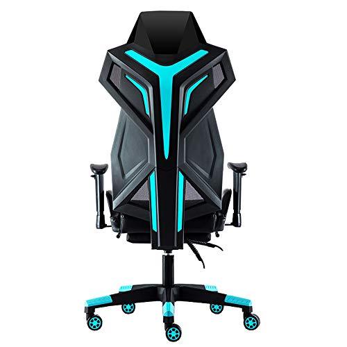 LJFYXZ Racing Stuhl Bürostuhl Chefsessel Atmungsaktive Rückenlehne Ergonomischer Sitz Verstellbare Armlehne Moderne Einfachheit E-Sportspielstuhl Tragende 250kg Rot Weiß Blau (Farbe : Blau) -