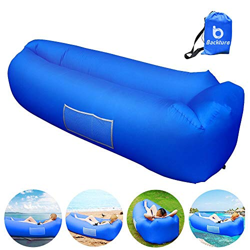 BACKTURE Sofa Hinchable, Tumbona Inflable Cama con Almohada integrada, portátil Impermeable 210T...
