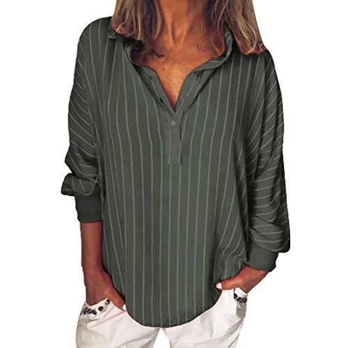Haughtily Frauen Vertikale Streifen Langarm Bluse Umlegekragen Knöpfe Lässig Plus Size Lose T-Shirt Pullover -