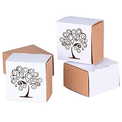 Deomor 50pz scatole portaconfetti bomboniere scatoline carta per matrimonio comunione compleanno battesimo 6*6*3.8cm albero della vita