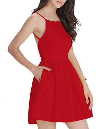 FANCYINN Damen Sommerkleid Armellos Spaghetti-Armband Kleider Elegant Rückenfreies Kurze Kleid Minikleid Rot L(42-44) (Für Frauen Kurzen Kleid Roten)