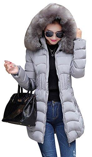Smithroad,giacca invernale medio-lunga, da donna, con cappuccio in pelliccia sintetica, elegante, in stile parka grau 42