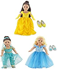 Emily Rose 18 Inch Doll Princess Dress Value Bundle | Amazing 8 Piece Set, Includes Cinderella, Belle and Jasm