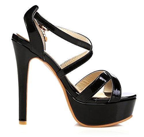 YE Damen Peep Toe High Heel 13cm Heels Plateau Stiletto Lack Leder  Knöchelriemen Pumps Mit Schnalle Sommer Fashion Elegante Party Sandalen  Schuhe Schwarz 3c590e902b