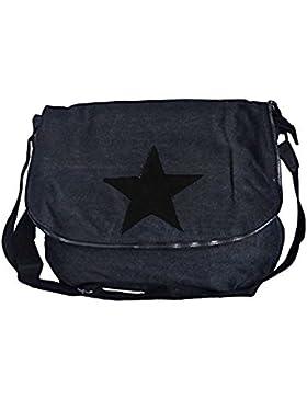 angesagte, topaktuelle Tasche, Umhängetasche,Canvastasche mit Stern und Leder