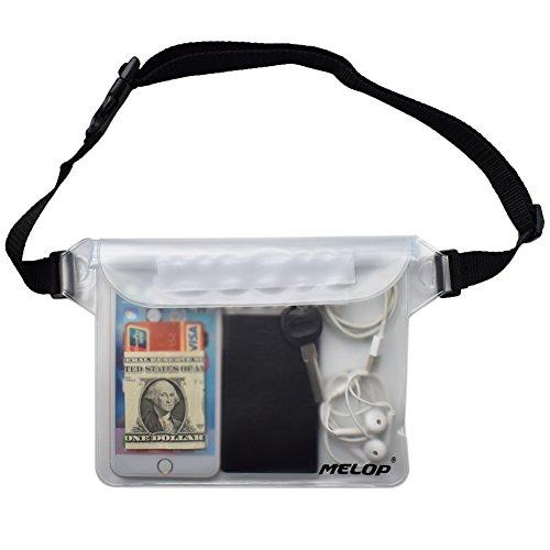 MELOP Wasserdichte Tasche mit verstellbarem Hüft-/Schultergurt für Bootfahren, Schwimmen, Schnorcheln, Kajak, Strand, Pool, Wasserparks