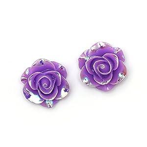 Idin Ohrclips – Violette, glänzende Rosen in AB-Farbe (Regenbogeneffekt) (ca. 19 x 19 mm)