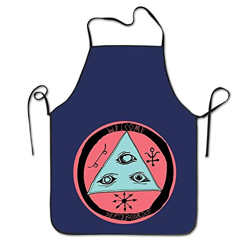 KENETOINA Welcome Skateboard Pink Logo Kitchen Woman Aprons Cute Adult Aprons