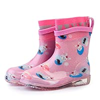 LYXFZW,Rain Boots For Kids,girls,Rubber Wellington Boots Soft Removable Socks Waterproof Non-Slip Children Boys Easy Wipe Outdoor Pink Rabbit Transparent Sole Cute For School Garden Fashion