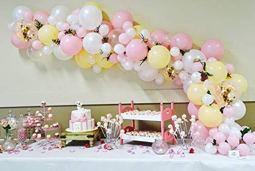 PuTwo Luftballons 76 Stück Taufe Ballons Baby Shower Ballons Latex Luftballons und OH BABY Folien Buchstabenballon Party Deko für Taufe Girl Baby Shower Babyparty Mädchen - Macaron Farbe & Weiß & Golden