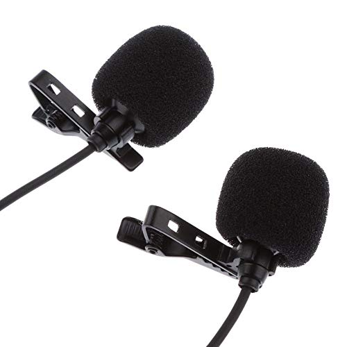 Mini Lavalier Revers Mikrofon Dual Headed Aufnahme Clip On Mic für iPhone iPad Samsung Tablet SD998 ( Color : Black ) Ipad Dual-arm