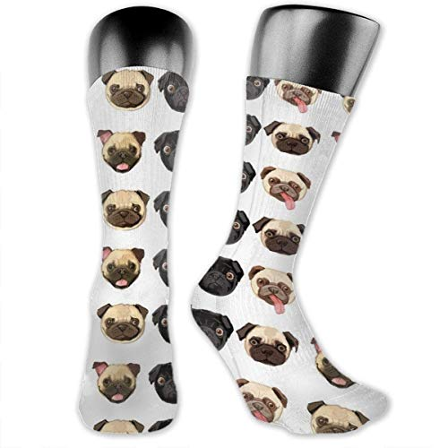 HiExotic Strümpfe Breathable Black Yellow Pug Athletic Exotic Psychedelic Print Calf Socks Soccer Socks Sport High Stockings Below Knee Stockings Sports Compression Elastic Socks Men Women -