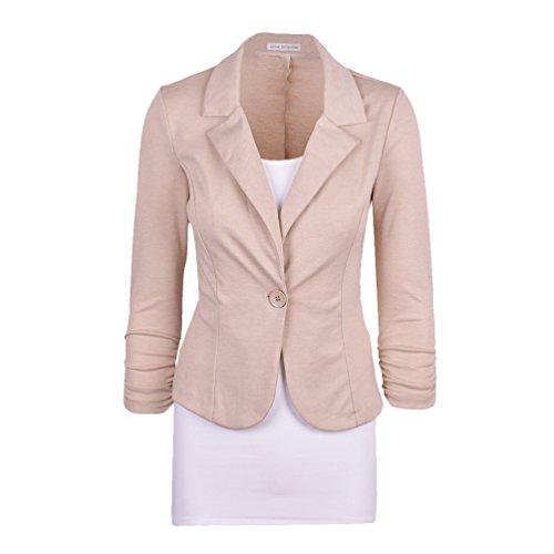 CHENGYANG Veste de tailleur Manches 3/4 Un Boutons Uni Veste Manteau Blazer Court Femme Beige