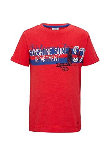 s.Oliver Jungen T-Shirt mit Druck, mit Print, Gr. 128 (Herstellergröße: 128/134), Rot (red 3110)