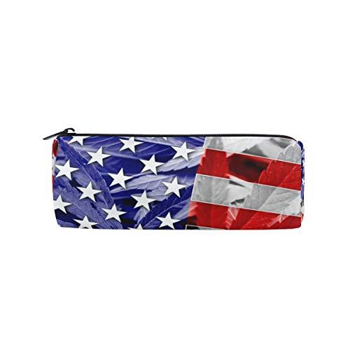 Tenboya Federmäppchen USA Flagge auf Cannabis Marihuana Blatt Stifteetui Wasserdicht Kosmetik Aufbewahrungstasche Geldbeutel für Studenten Erwachsene