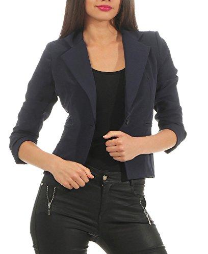 DANAEST Eleganter Damen Blazer Jacke aus Baumwolle für Business Freizeit Party (632), Farbe:Dunkelblau, Kostüme & Blazer für Damen:36 / S (Business-kostüme Damen Für)