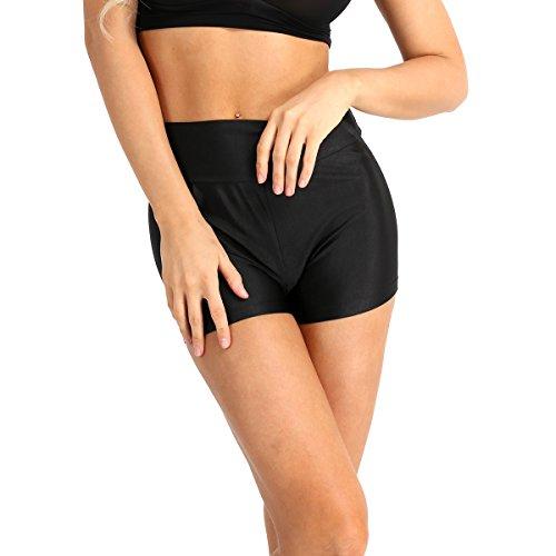 iEFiEL Damen Shorts Sport Laufhose Gym Yoga Shorts kurze Hose Laufshorts Fitness Sporthose Trainingshose (M, Schwarz (High Waist))