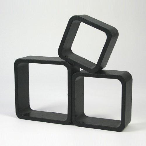 Étagères cube murale de 3 piéces en Polyuréthane noir -PEGANE-