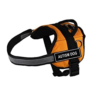 """Dean & Tyler DT Works """"Autism Dog"""" Dog Harness, Fits Girth Size 18-Inch to 21-Inch, X-Small, Orange/Black 12"""