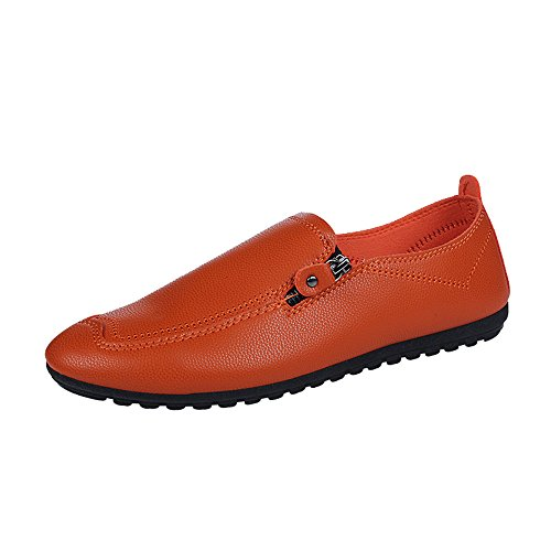 KonJin Mens Leather Loafer Comfy Lightweight Round Toe Shoes Flats Moccasins Non-Slip Wider Soft Sole Business Shoes Cordovan Wingtip