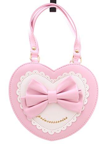 LB-616 Hell-Rosa Umhänge Tasche Herz Handtasche Kunstleder Lolita Gothic Japan süß Harajuku
